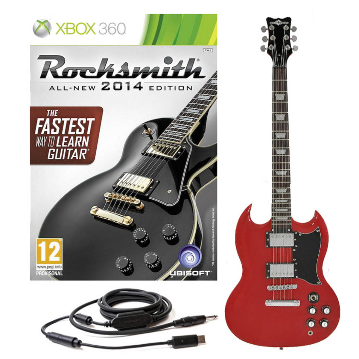 disc rocksmith 2014 xbox 360 brooklyn electric guitar red at. Black Bedroom Furniture Sets. Home Design Ideas
