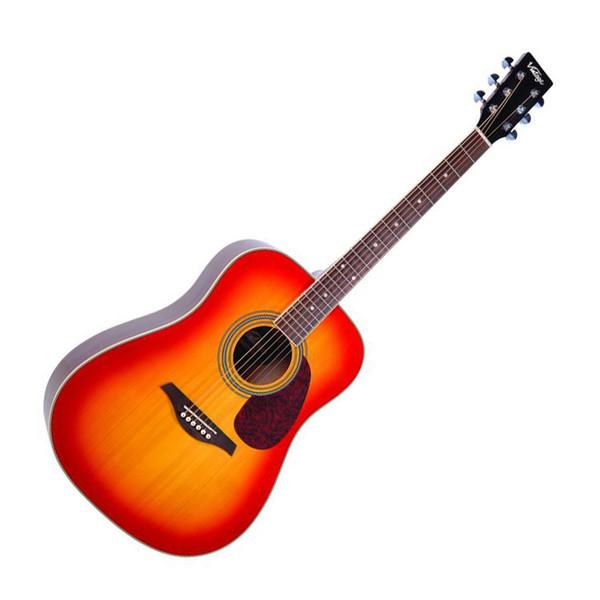 Vintage V400 Solid Top Acoustic Guitar, Cherry Sunburst