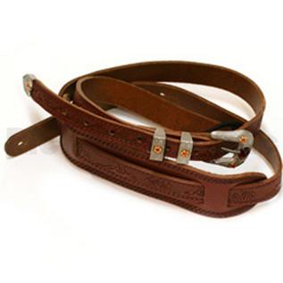 Gretsch Tooled Vintage Leather Guitar Strap, Walnut