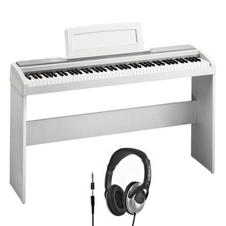 Korg SP-170S Compact Piano, White with Stand and Headphones