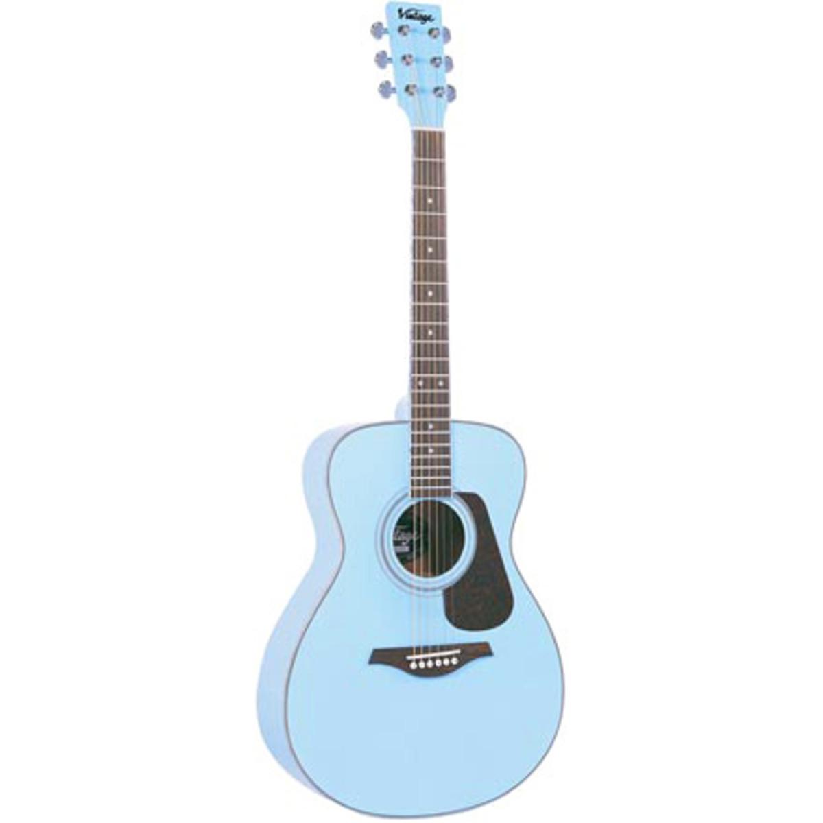 disc vintage v300 acoustic guitar baby blue at. Black Bedroom Furniture Sets. Home Design Ideas