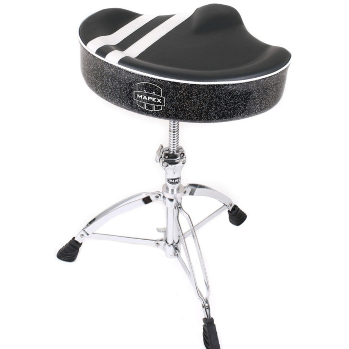 Image of Mapex T756B Stool Saddle Top Threaded Base Black with White Stripe