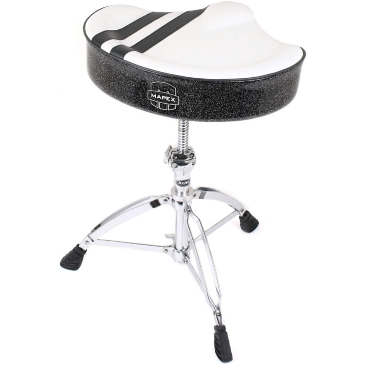 Image of Mapex T756W Stool Saddle Top Threaded Base White with Black Stripe