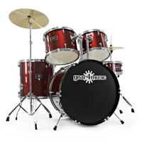 GD 2 Drum Kit by Gear4music Wine Red