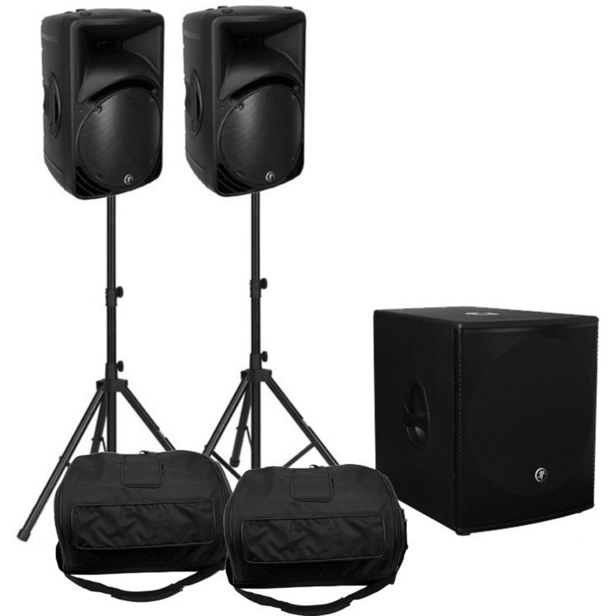 Disc mackie srm450 pa pack 1300w with sub stands at for Stand pack