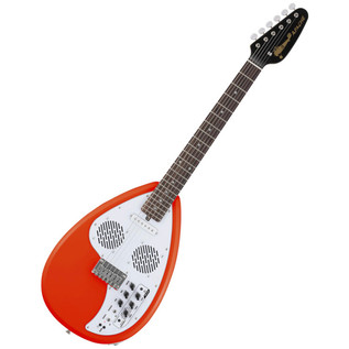 Vox Apache I Teardrop Electric Guitar with Built In Amp, Salmon Red