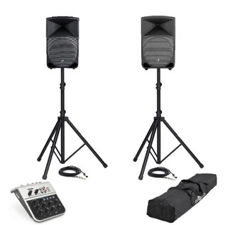 Mackie Thump TH-12A (Pair) PA System Including Mixer, Stands + Cables