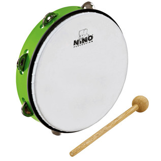 Meinl NINO24GG Percussion 10 inch ABS Tambourine, Grass-Green
