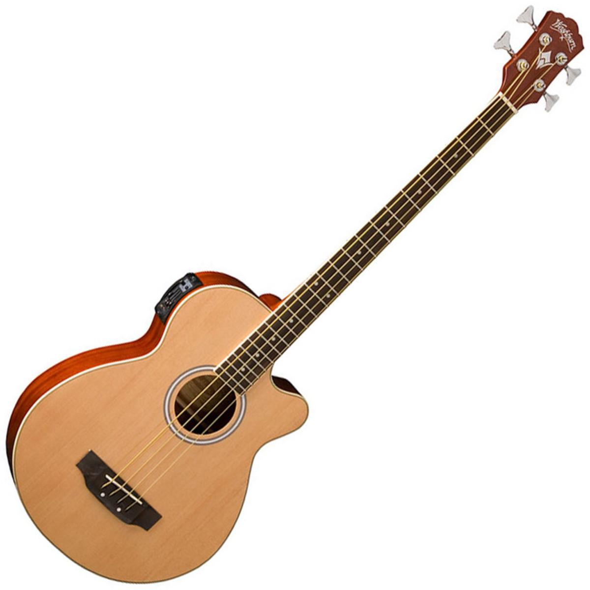 Washburn AB5N Electro Acoustic Bass Guitar Natural At