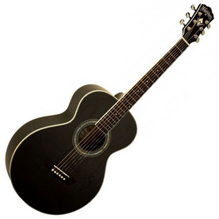 Washburn WMJ7S BM 7 Harvest Series Mini Jumbo Acoustic, Matte Black