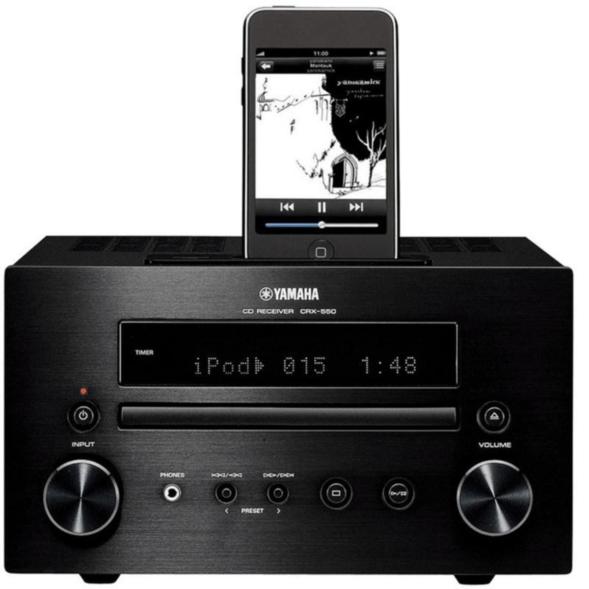 Yamaha crx 550 mini sound system with ipod dock black for Yamaha sound console