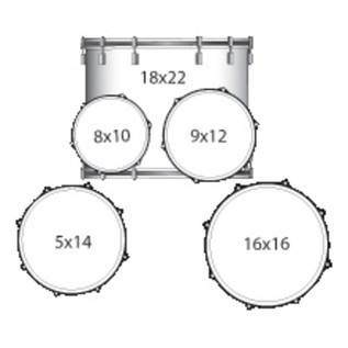 Ludwig Element Drive 5 Piece 22 Inch Drum Kit, Azure Blue Sparkle