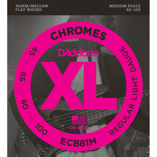D'Addario ECB81M Chromes Bass Guitar Strings, Light 45-100, Med Scale