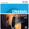 D'Addario EJ11 Cordes en bronze pour guitare acoustique, 80/20, Light, 12-53