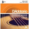 D'Addario EJ15 3 Packs de Cuerdas Fósforo Bronce, Extra Ligeras 10-47