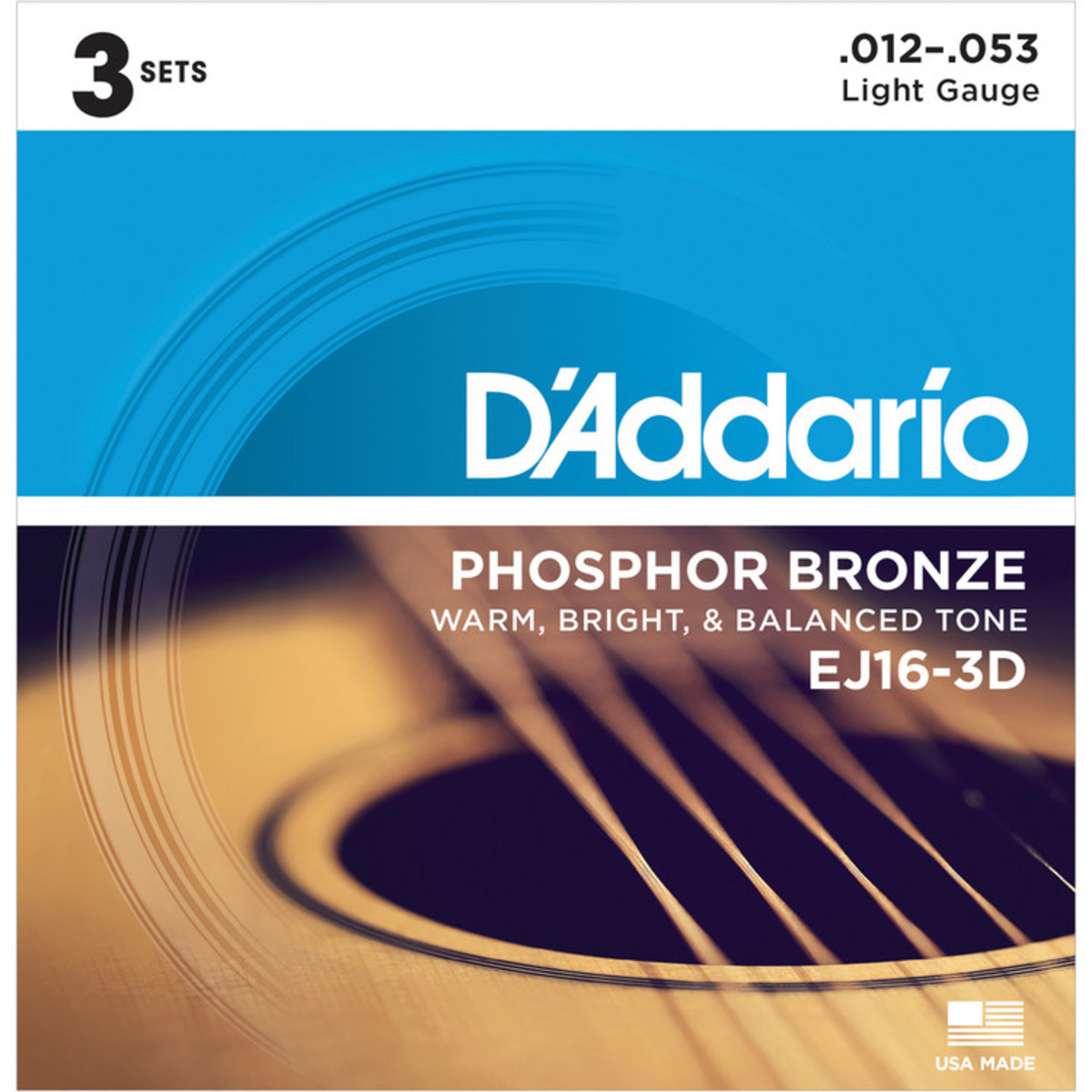 Image of DAddario EJ16 Phosphor Bronze Light 12-53 x 3 Pack