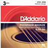 D'Addario EJ17 Phosphor Bronze-, Medium, 13-56 x 3-Pack