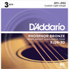 D'Addario EJ26 phosphore Bronze, Custom Light, 11-52 x Pack 3