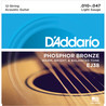 D'Addario EJ38 Cordes en bronze phosphoreux pour guitare acoustique 12 cordes, Light, 10-47