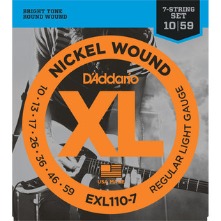 D'Addario EXL110-7 7-String Electric Guitar String Set, Reg Light