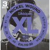 D'Addario EXL115 Nickel Wound, Medium/Blues-Jazz Rock, 11-49 x 3 pacchetto