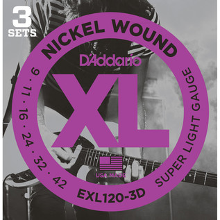 D'Addario EXL120 Nickel Wound, Super Light, 9-42 x Pack