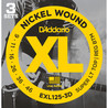 D'Addario EXL125 Nickel Wound, 9-46 x Pack 3