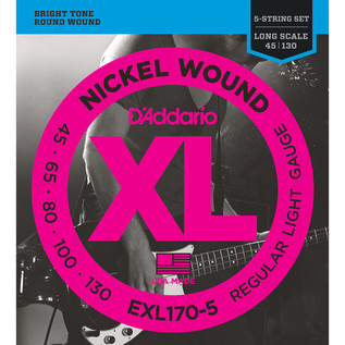 D'Addario EXL170-5 5 String Bass Guitar Strings, Light 45-130, Long