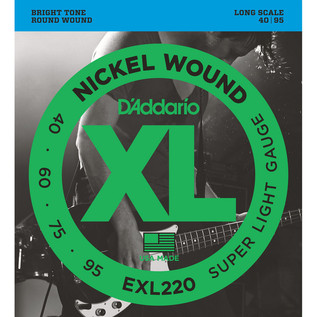 D'Addario EXL220 Bass Guitar Strings, Super Light 40-95, Long Scale