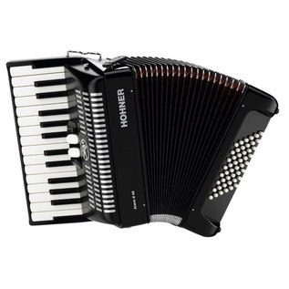 Hohner Bravo II 48 Accordion, Black with Gig Bag