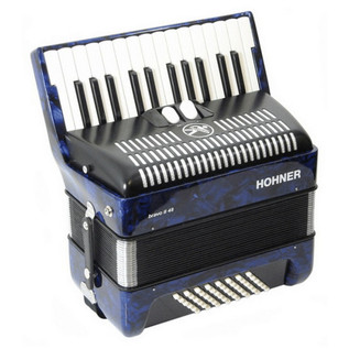 Hohner Bravo II 48 Accordion, Dark Blue with Gig Bag