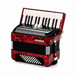 Hohner Bravo II 48 Accordion, Red with Gig Bag