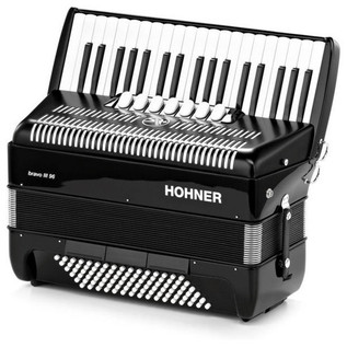 Hohner Bravo III 96 Accordion, Black with Gig Bag