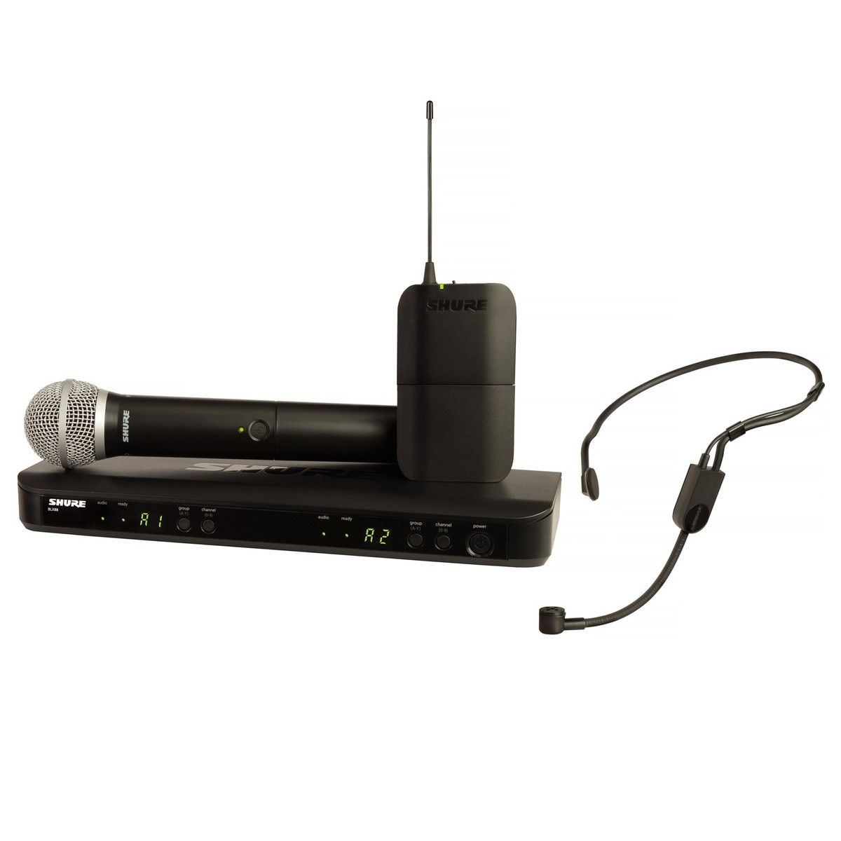 shure blx1288uk p31 dual headset and handheld wireless mic system at. Black Bedroom Furniture Sets. Home Design Ideas