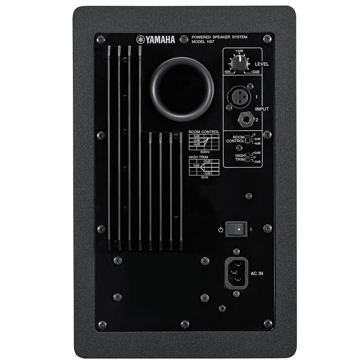 yamaha hs7 active studio monitors with stands at