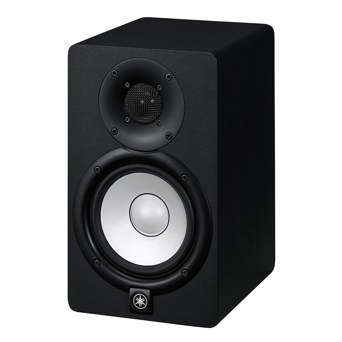 yamaha hs5 active studio monitors pair with stands at