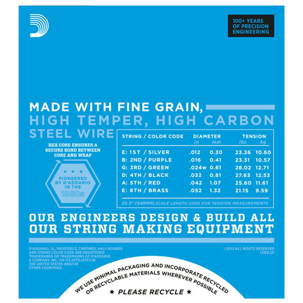 D'Addario EJ21 Electric Guitar Strings, Jazz Light 12-52