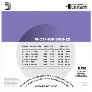 D'Addario EJ26 Phosphor Bronze, Custom Light, 11-52 x 3 Pack