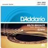 D'Addario EZ910 Cordes en bronze pour guitare acoustique, 85/15, Light, 11-52