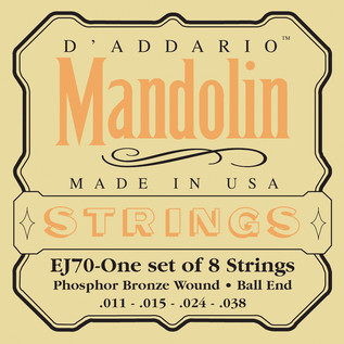 D'Addario EJ70 Phosphor Bronze Mandolin Strings, Ball End, Med/Light