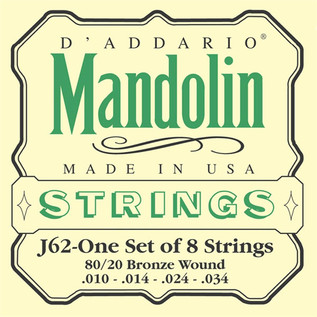 D'Addario J62 80/20 Bronze Mandolin Strings, Light 10-34