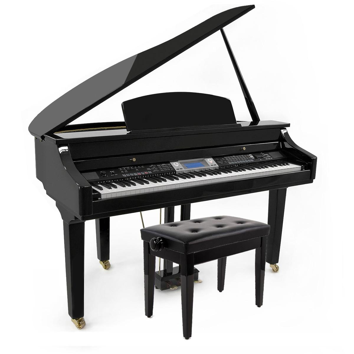 Minster grand500 digital flygel med deluxe klaver stol hos for Moderni piani a 4 piani