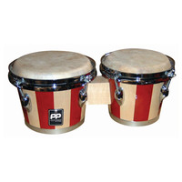Performance Percussion Two Tone Wood Bongos Chrome Hardware