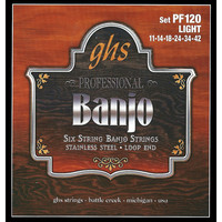 GHS PF120 Stainless Steel 6 String  Banjo Strings Light Gauge
