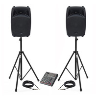 Phonic Jubi 12A PA System with Mixer Stands and Cables
