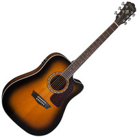 Washburn HD10SCETB Electro Acoustic Dreadnought Guitar Tobacco Burst