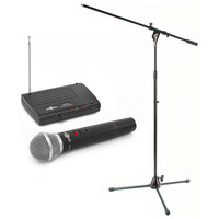Single Wireless Mic System & Stand by Gear4music