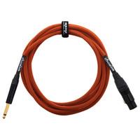Orange 10 ft Mic Jack/XLR Cable Orange Woven