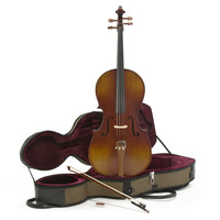 Deluxe 1/2 Cello with Case Antique Fade by Gear4music