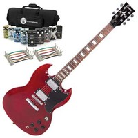 Encore Electric Guitar Cherry Red with Belcat Complete Pedal Pack